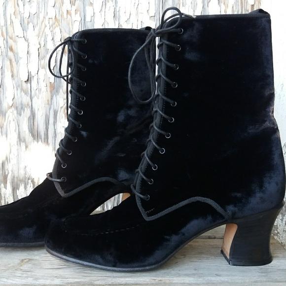 Anne Klein Black Velvet Lace Up Boots